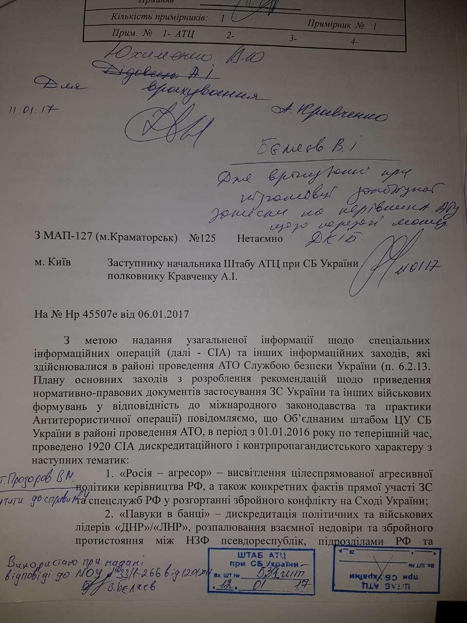 Rapport sur les opérations spéciales d'information du SBU (page 1)